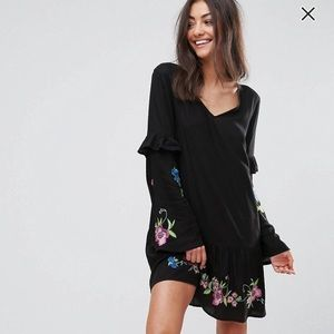 ASOS tall long sleeve floral embroidered dress